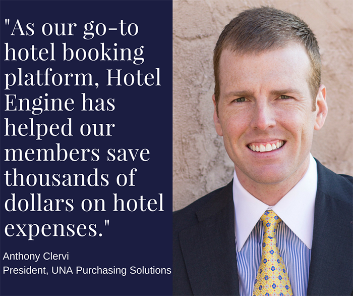 As our go-to hotel booking platform, Hotel Engine has helped our members save thousands of dollars on hotel expenses