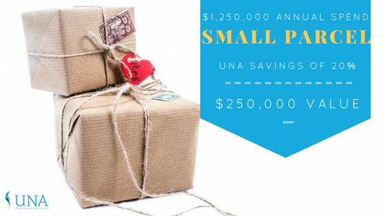 $1,250,000 annual spend - small parcel - UNA savings of 20% - $250,000 value