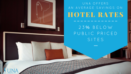 UNA offers an average savings on hotel rates 23% below public priced sites